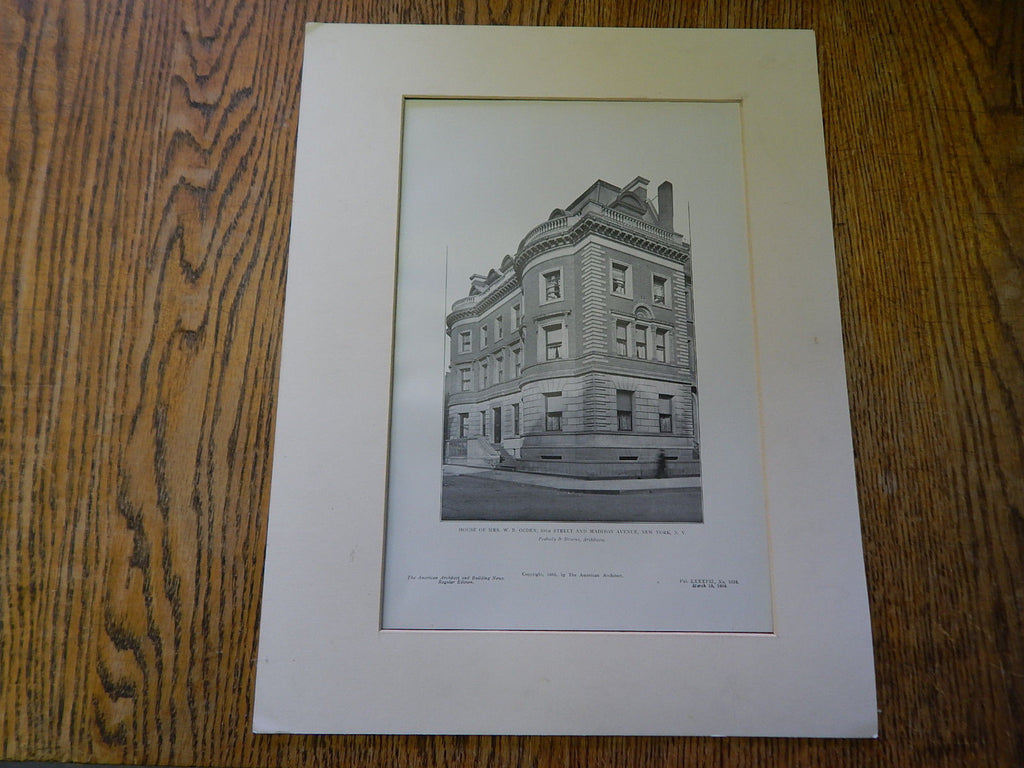 House of Mrs.W.B. Ogden,39th St, and Madison Ave, NY, 1905, Lithograph. Peabody & Stearns.