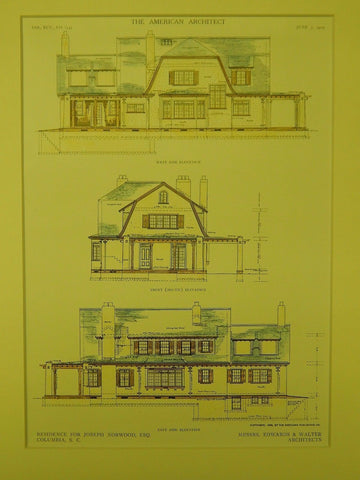 Elevations, Residence for Joseph Norwood, Columbia, SC, 1909, Original Plan. Edwards & Walter.
