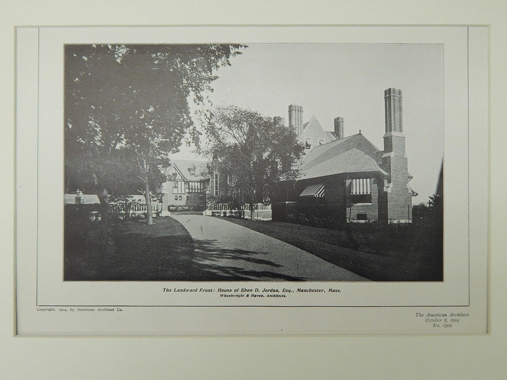 The Landward Front, House of Eben D. Jordan, Manchester, MA, 1904, Lithograph. Wheelwright & Haven.