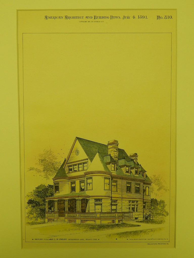House for Mrs. L. B. Childs in Shady-Side PA, 1891. Wm. Ross Proctor. Original