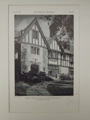 House of Sidney H. Sonn, Sunny Ridge, Harrison, NY, 1929, Lithograph. Julius Gregory.