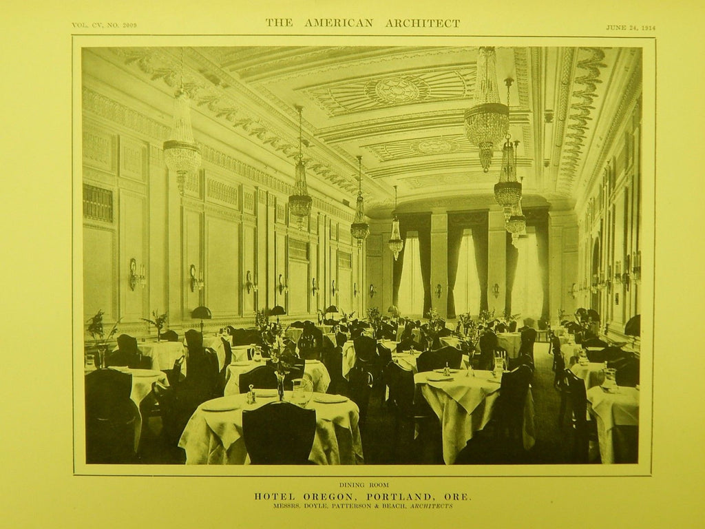 Dining Room, Hotel Oregon, Portland, OR, 1914, Lithograph. Doyle, Patterson, & Beach.