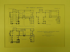 Floors, Richardson Memorial Presbyterian Church, Philadelphia, PA, 1914, Original Plan. Bolton & Son.