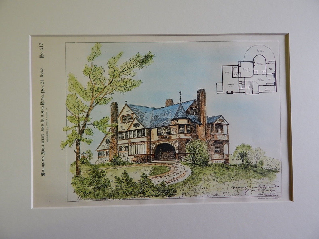 Residence for Lucius A. Barbour, Esq., Washington, CT, 1885, Original Plan.