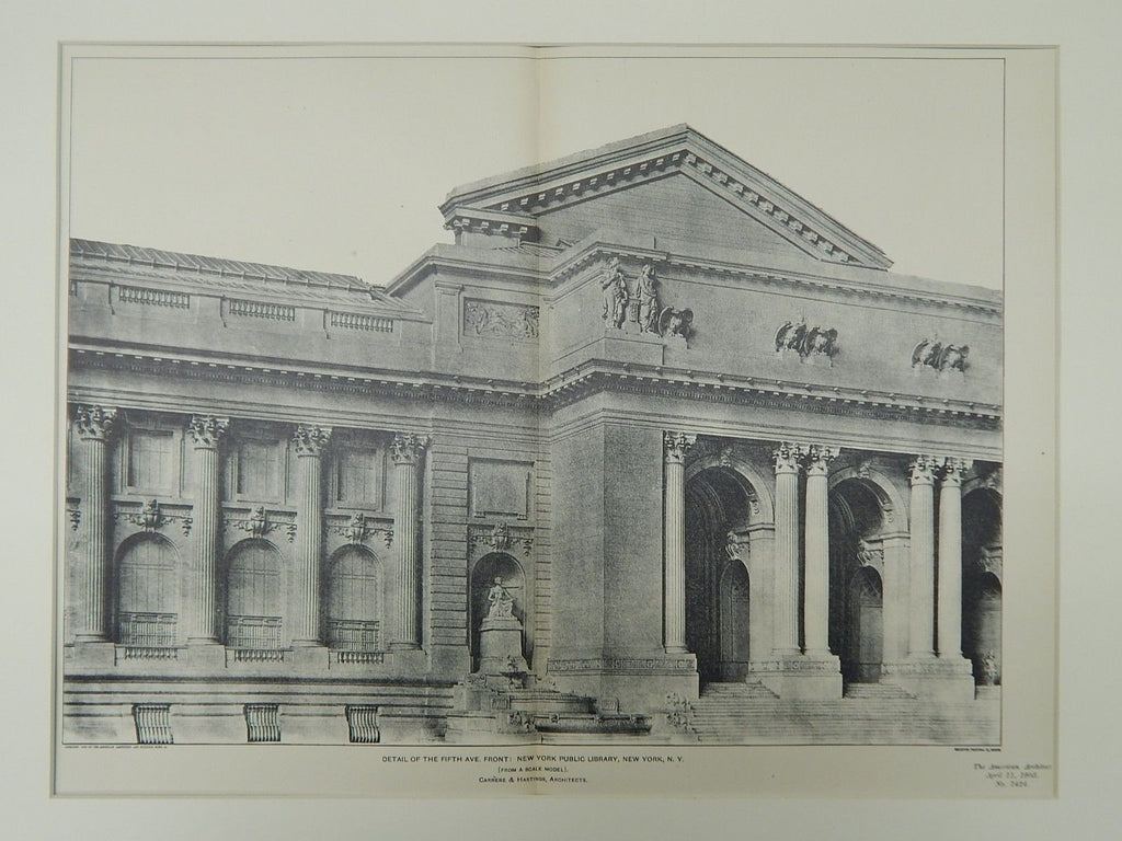 Fifth Ave Front Detail, New York Public Library, New York, NY, 1903,Photogravure.
