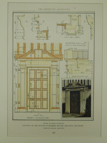 Estate of Richard Sellers: Front Entrance, Bellevue, DE, 1929. Prentice Sanger. Original Plan.