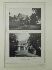 Cottage & Stable, Estate of Eben D. Jordan, Manchester, MA, 1904, Lithograph. Wheelwright & Haven.