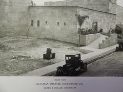 Grauman Theatre, Rear View, Hollywood, CA, 1923, Lithograph. Meyer&Holler.