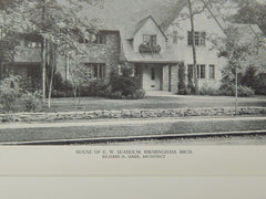House of E. W. Seaholm, Birmingham, MI, 1929, Lithograph. Richard H. Marr.