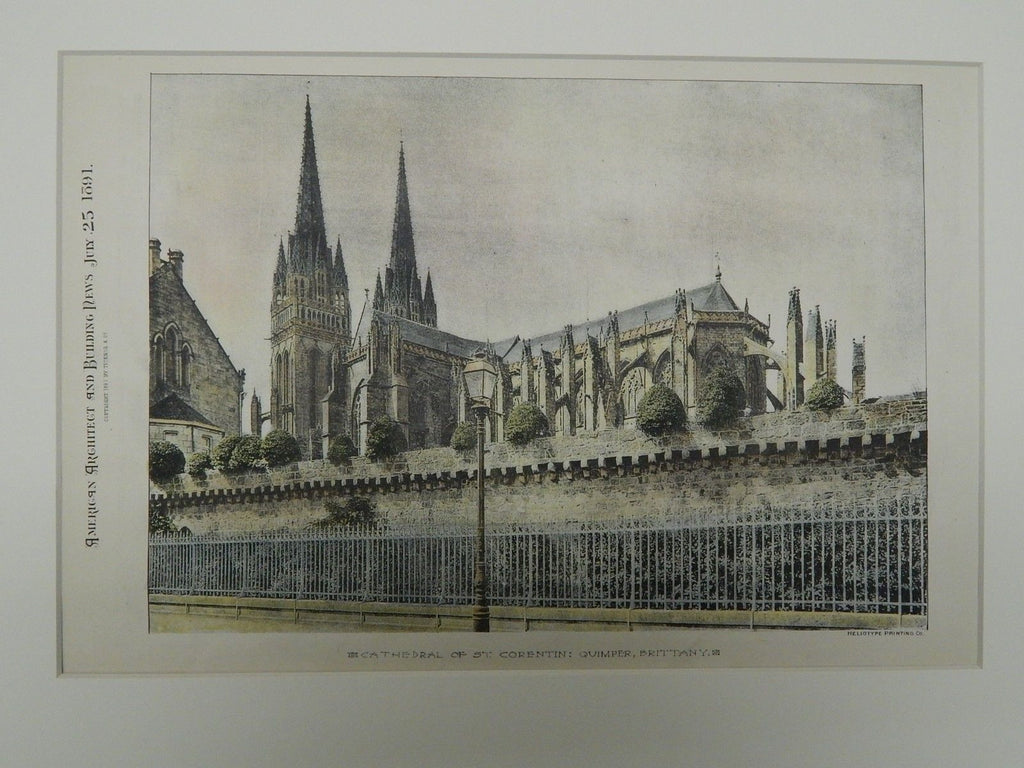 Cathedral of St. Corentin, Quimper, Brittany, 1891. Original Plan.