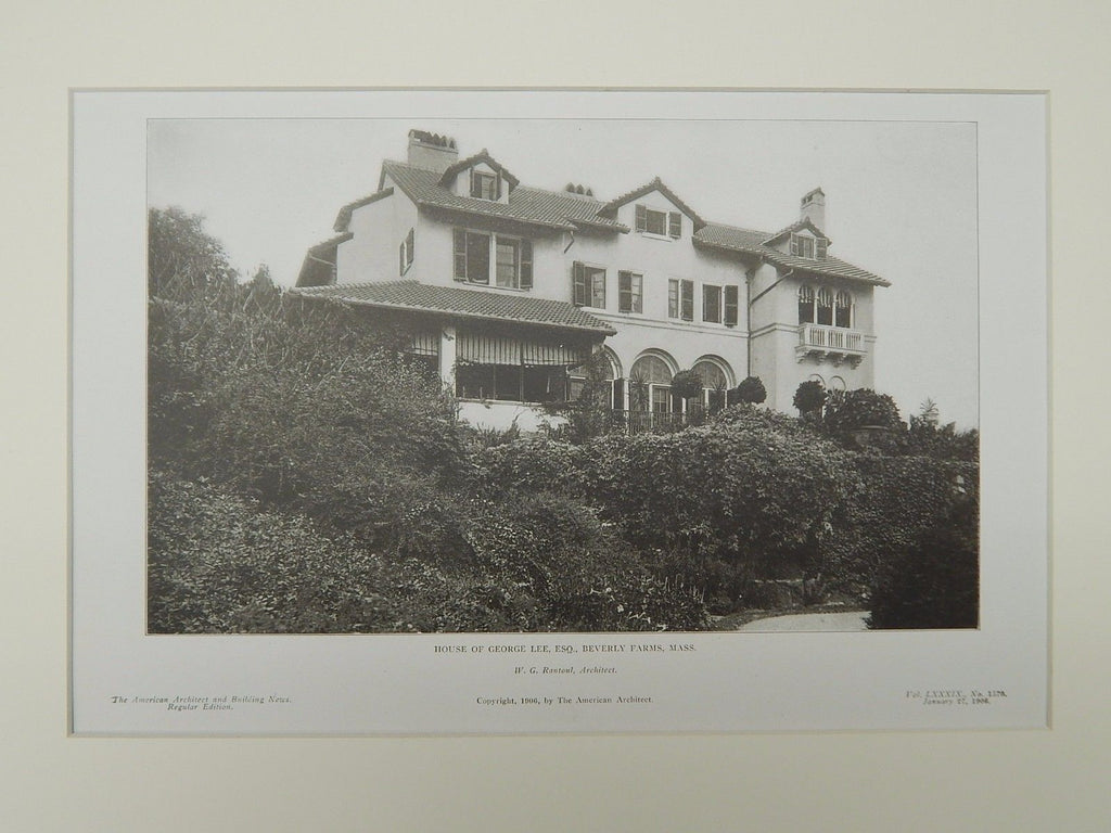 Exterior, House of George Lee, Esq., Beverly Farms, MA, 1906, Lithograph. W.G. Rantoul.
