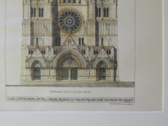 New Cathedral of All Saints, W Front, Albany, NY, 1885. Original Plan. Gibson.
