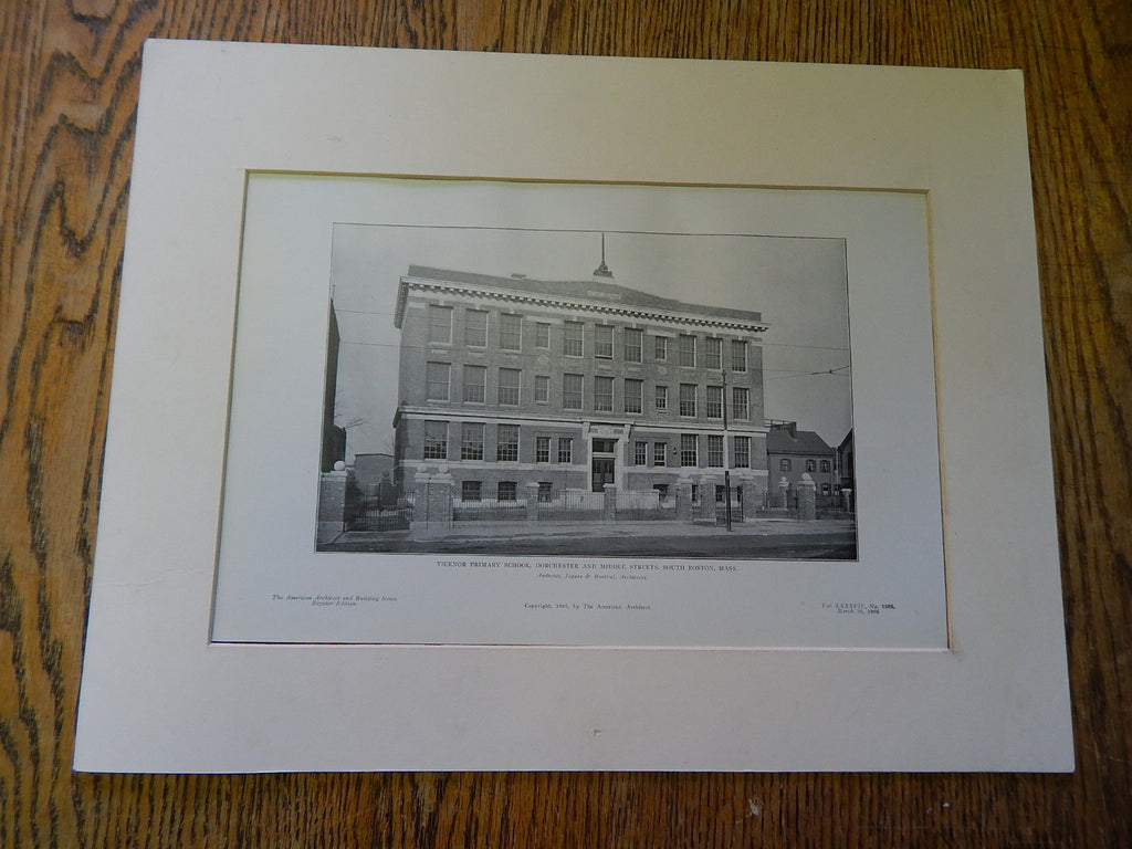 Ticknor Primary School, Dorchester/ Middle Streets, South Boston, 1905, Litho. Andrews, Jaques & Rantoul.