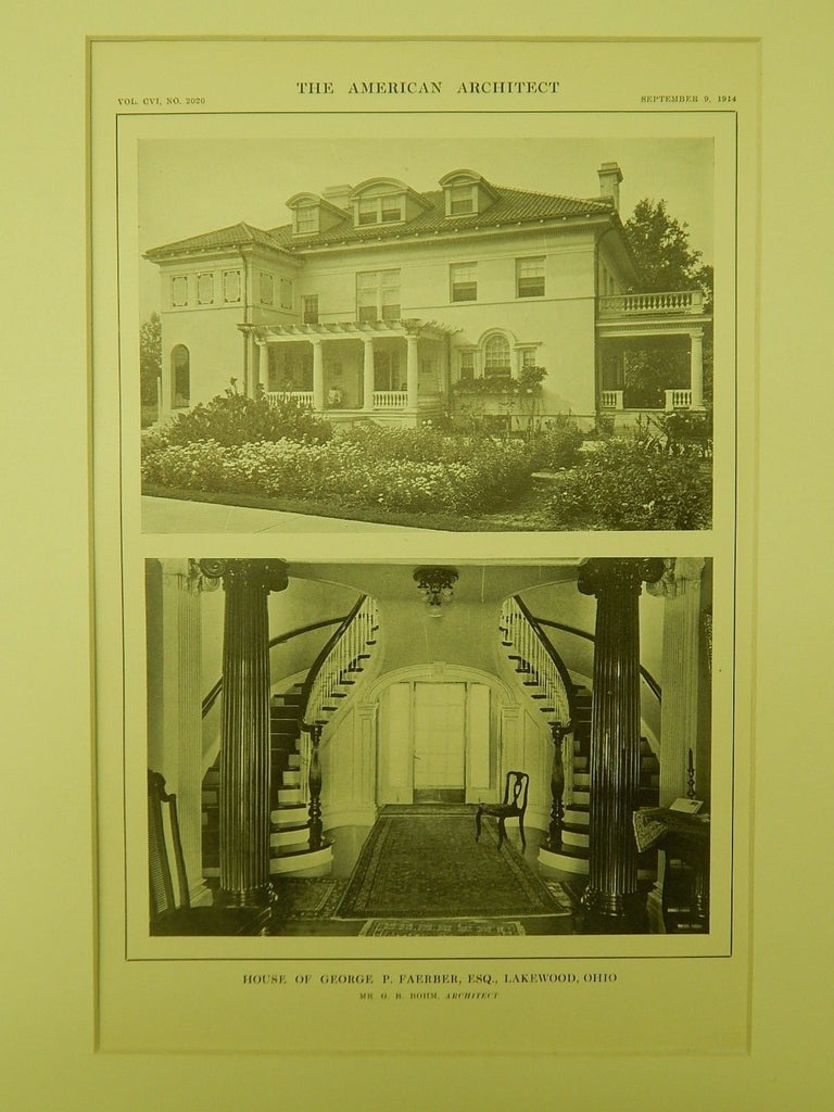 Interior, House of George P. Faerber, Lakewood, OH, 1914, Lithograph.  G. B. Bohm.