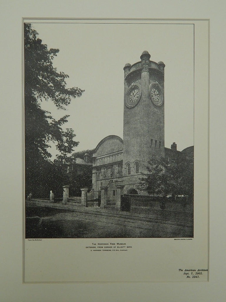Exterior, Horniman Free Museum, London, England, 1901, Lithograph. Townsend.