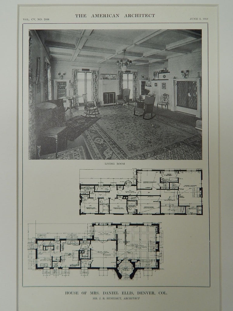 House of Mrs. Daniel Ellis, Denver, CO, 1914, Lithograph. J.B. Benedict.