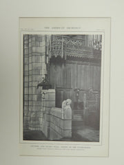 Lectern & Vicar's Stall, Chapel of the Intercession, NY, 1914. Lithograph. Cram, Goodhue, & Ferguson.