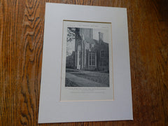 North Sage Dining Hall, Princeton University, New York, Lithograph,1918. Day&Klauder.