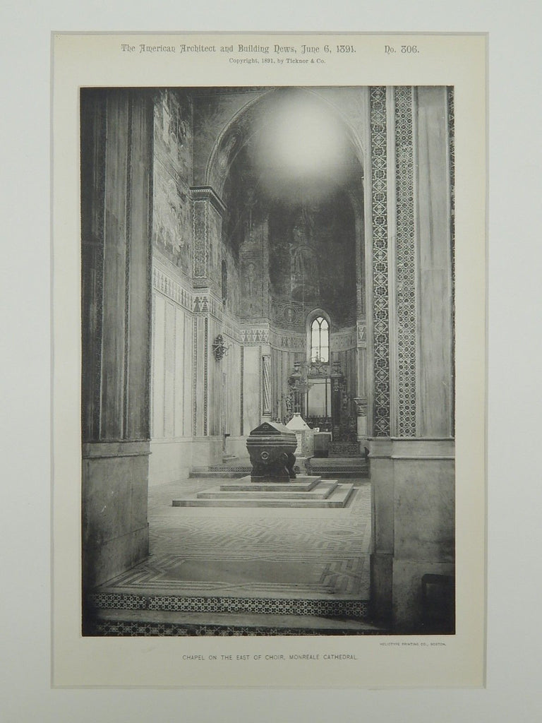 East of Choir Chapel, Monreale Cathedral, Monreale, Italy, 1891, Gelatine Print.
