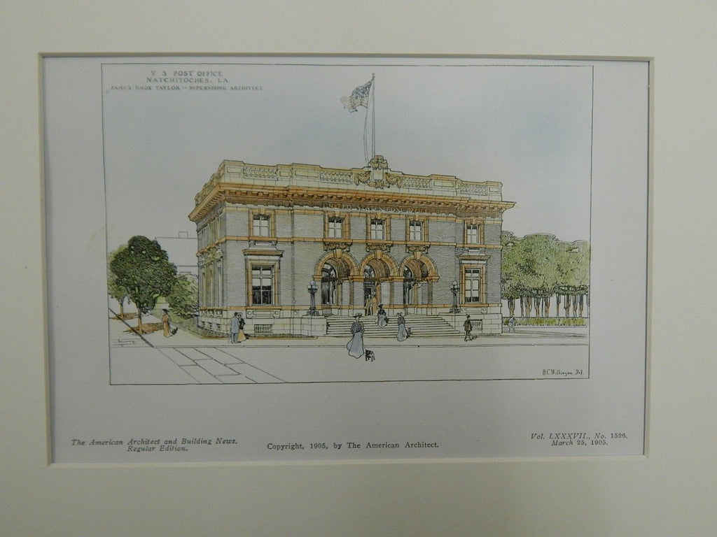 U.S. Post Office, Natchitoches, LA. 1905. Original Plan. James Knox Taylor.