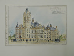 Accepted Design, City Hall, Station House, & Jail, Cohoes, NY, 1896. Orig. Plan. Holland & Co.