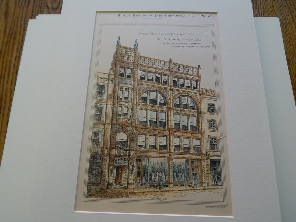 Nathaniel Thayer Building, Kansas City, MO, 1886, Original Plan. Van Brunt & Howe.