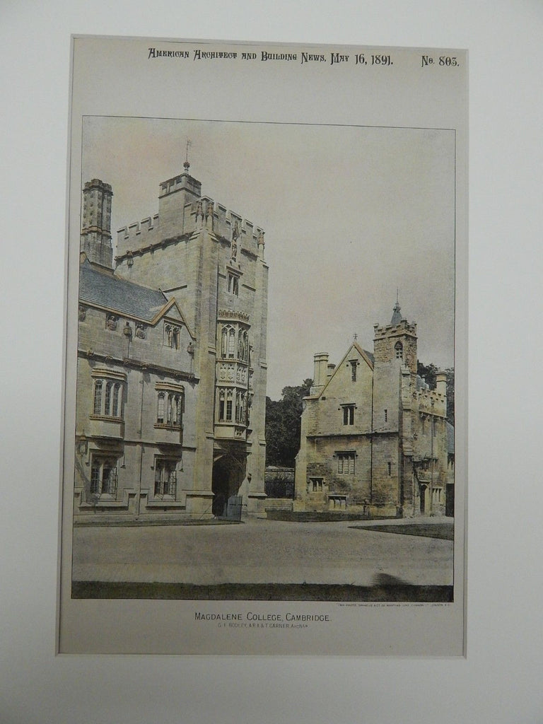 Magdalene College, Cambridge, UK. 1891. Colored Photograph.G.F. Bodley, A.R.A. & T. Garner.