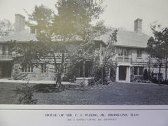 House of Mr. C.S. Waldo,Jr., Exterior, Brookline,MA, Lithograph,1914. Mr. J. Lovell Little, Jr.