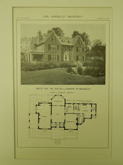House for Mr. Walter G. Horton, Brookline, MA, 1914, Lithograph. Charles K. Cummings.