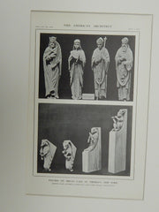 Figures on Organ Case, St. Thomas's Church, NY, 1914. Lithograph. Cram, Goodhue, & Ferguson.