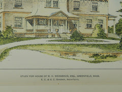 Study for House of M. H. Weissbrod, Esq., Greenfield, MA, 1903, Original Plan. E. C. &. G. C. Gardner.