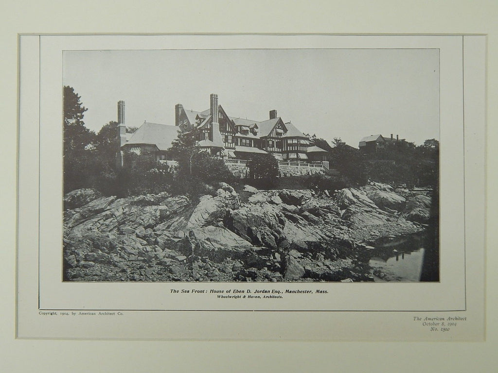 The Sea Front, House of Eben D. Jordan, Manchester, MA, 1904, Lithograph. Wheelwright & Haven.