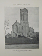 Exterior, St. Mark's Church, Minneapolis, MN, 1918, Lithograph. Hewitt & Brown.