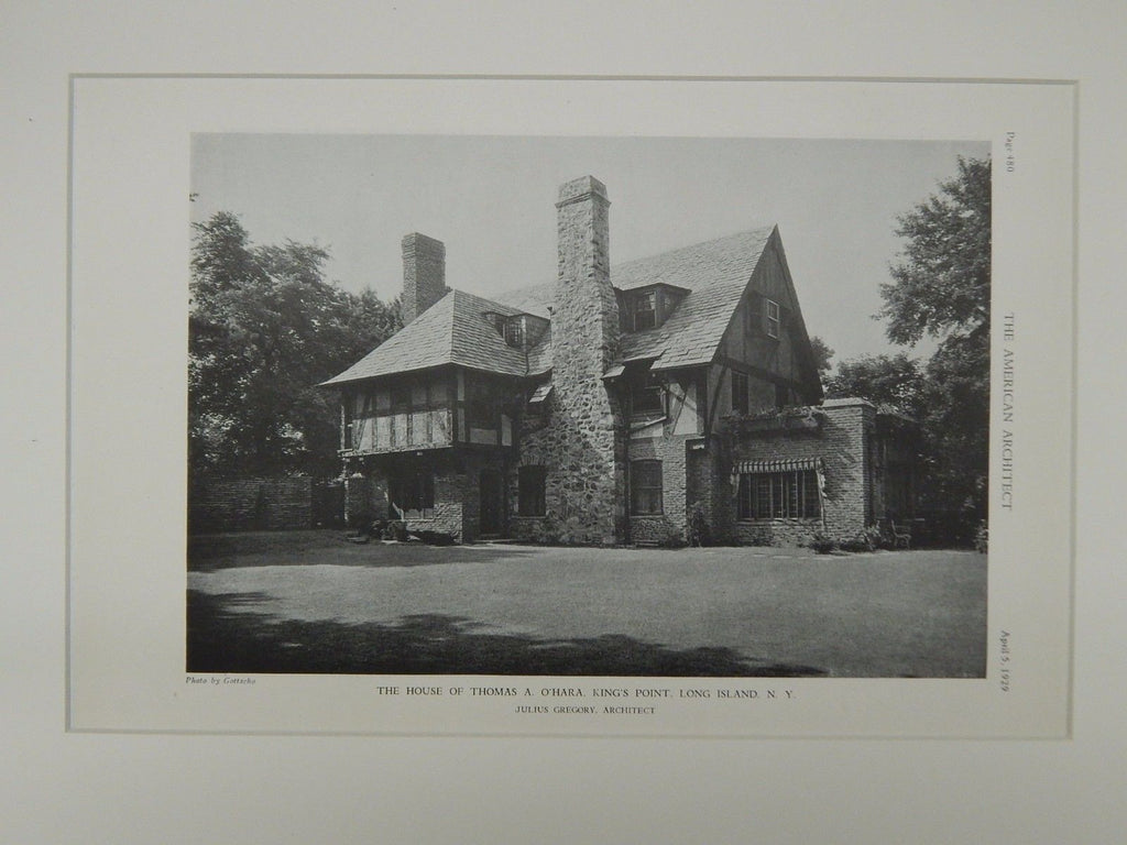 House of Thomas A. O'Hara, King's Point, Long Island, NY, 1929, Lithograph. Julius Gregory.