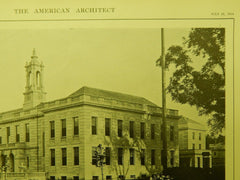 Exterior, Town Hall, Arlington, MA, 1914, Lithograph. R. Clipston Sturgis.