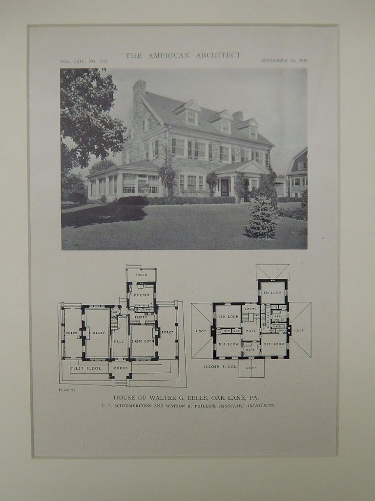 House of Walter G. Eells, Oak Lane, PA, 1918, Lithograph.  C. F. Schermerhorn & Watson K. Phillips.