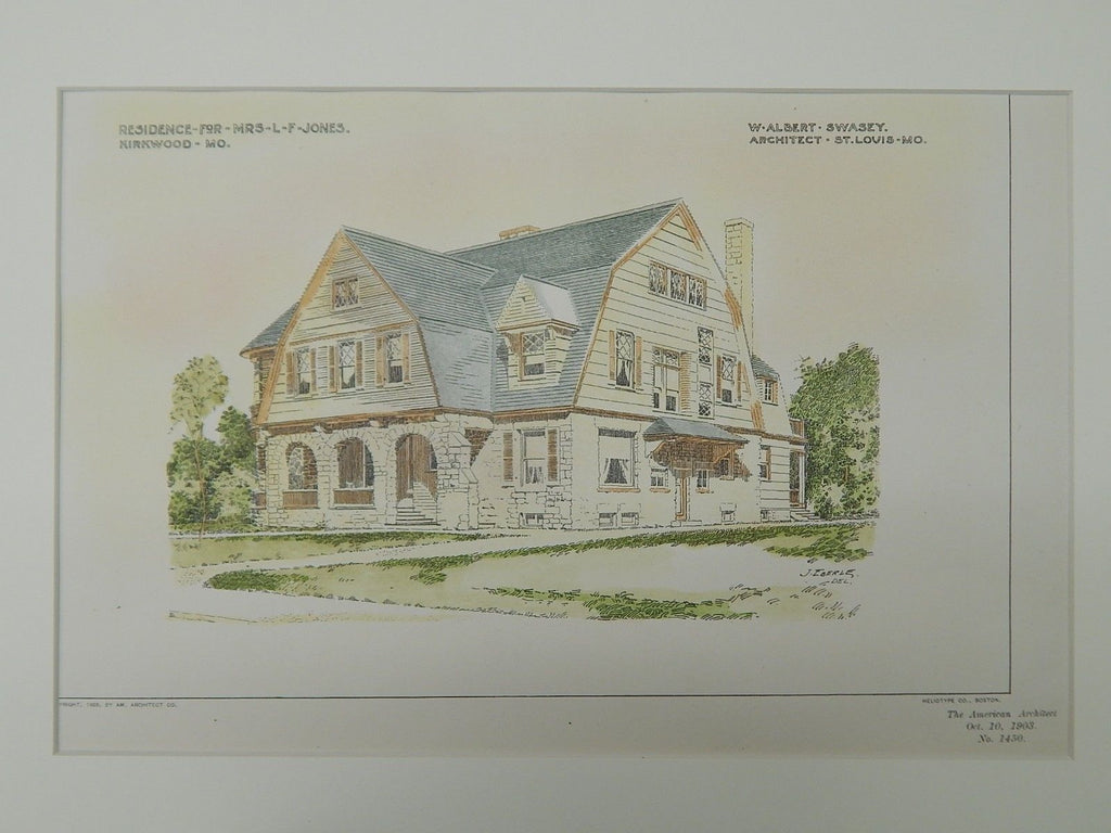 Residence for Mrs. L. F. Jones, Kirkwood, MO, 1903, Original Plan. W. Albert Swasey.