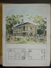 Town Hall, West Boylston, MA, 1903, Original Plan. Cooper & Bailey.