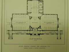 State Normal School, Los Angeles, CA, 1914. Original Plan. Allison & Allison.
