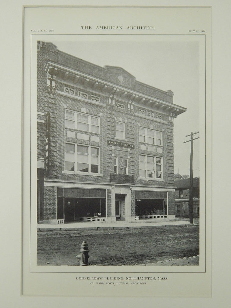 Oddfellows' Building, Northampton, MA, 1914, Lithograph. Karl Scott Putnam.