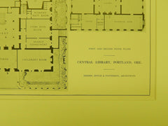 First and Second Floor, Central Library, Portland, OR, 1914, Original Plan. Doyle&Patterson.