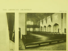 Interior, Westminster Presbyterian Church, Portland, OR, 1918, Lithograph. Lawrence & Holford.