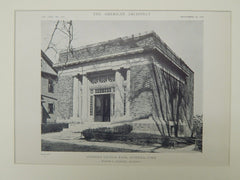 Suffield Savings Bank, Suffield, CT, 1918, Lithograph. Walter P. Crabtree.