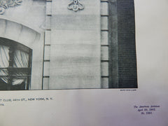 Detail Facade: Club-House New York Yacht Club, 44th, NY, 1901, Lithograph. Warren & Wetmore.