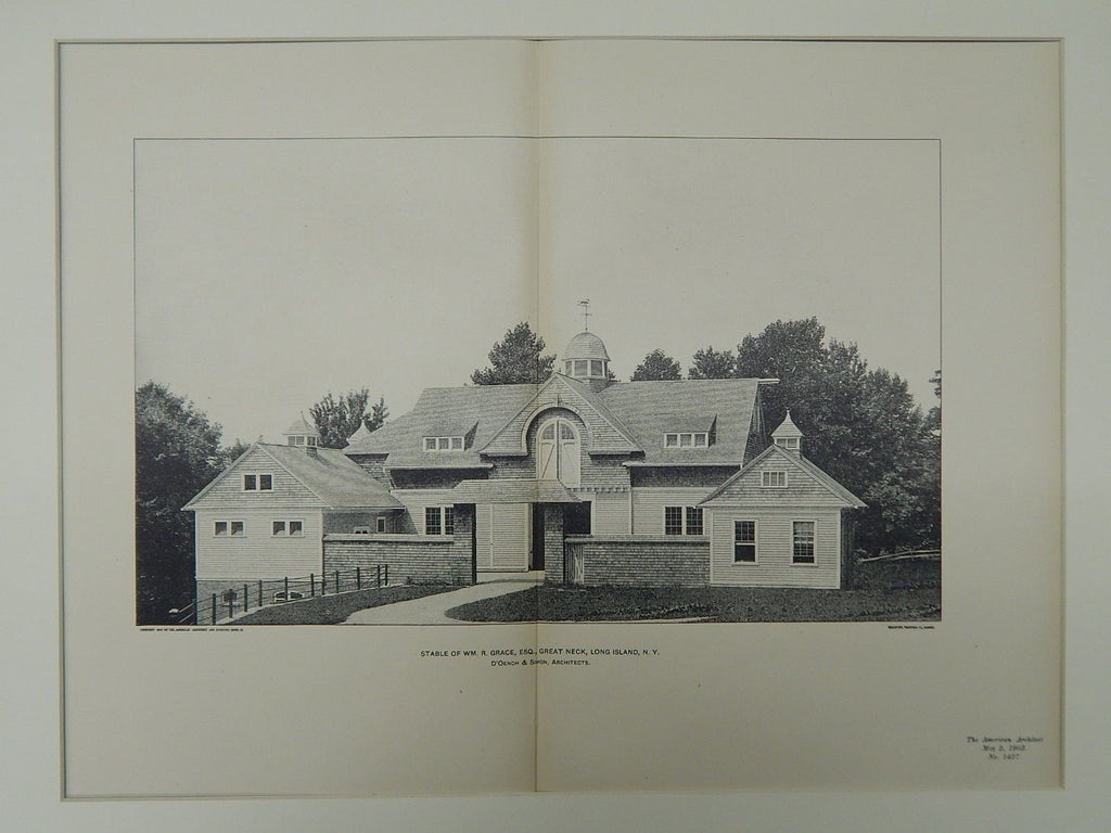 Stable of Wm. R. Grace, Esq., Great Neck, Long Island, NY, 1903, Photogravure. D'Oench & Simon.