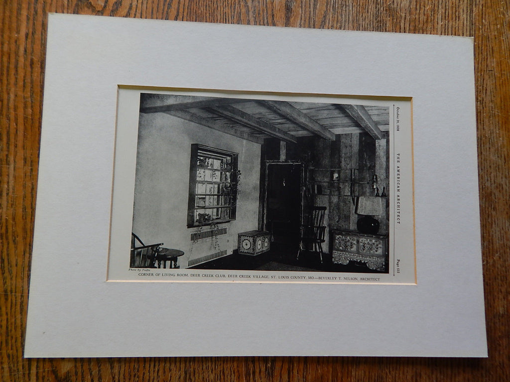 Living Room, Deer Creek Club, Deer Creek Village, St. Louis County, MO, 1928,Lithograph. Beverley T. Nelson.