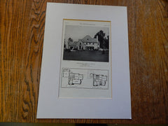 House of Mrs. Henrietta Huszagh, Winnetka, IL, 1929, Lithograph. Huszagh & Hill.