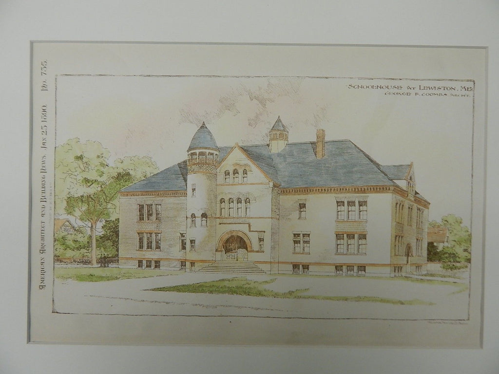 Schoolhouse, Lewiston, ME, 1890, Original Plan. George F. Coombs.