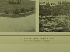 Exterior Details, Country Club, St. Joseph, MO, 1914, Lithograph. Walter Boschen.
