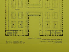 Second & Third Floors, Market House for City, Pittsburgh, PA, 1909, Orig. Plan. Alden & Harlow.